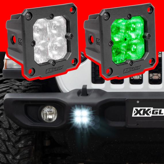 2pc Flush Mount C3 SAE Cube Light Kit| XKchrome Smartphone App