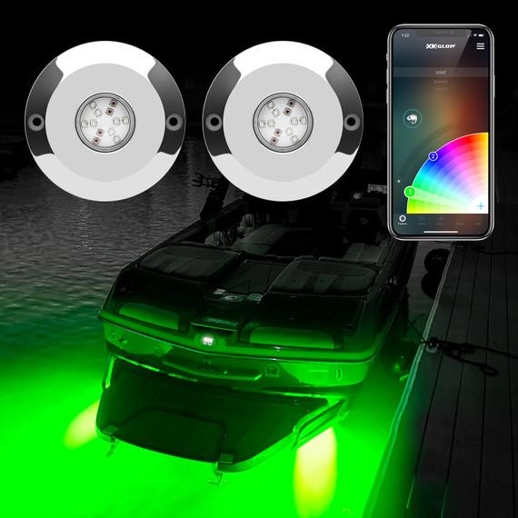 2pc 48W RGB LED Underwater Light Kit for Boat