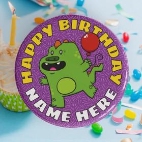 Personalised Happy Birthday Dinosaur Badge