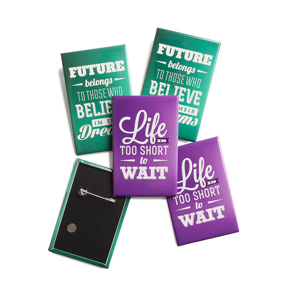 Promotional  45mm x 70mm Vertical Rectangle Badges