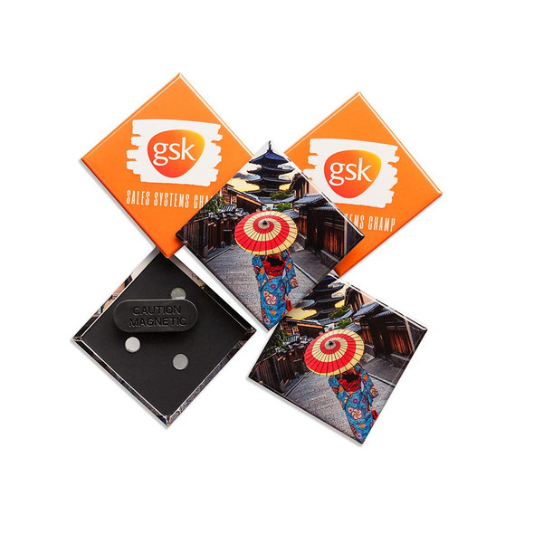 Custom Made Badges 75mm x 75mm Diamond with Magnetic Fastener