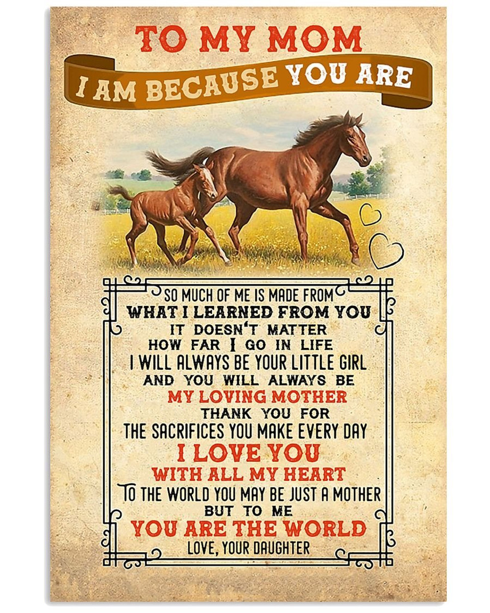 Customized To My Mom From Daughter Horse Print Poster Wall Art Home Decor Best Mother S Day Gift Gifteland