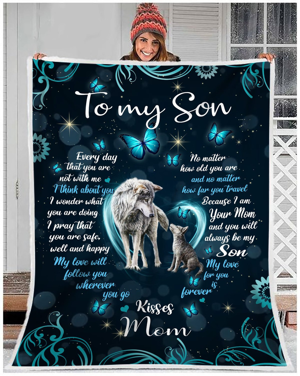 Details about  /Personalized To My Son From Mom Black Wolf Blanket Son Birthday Gift Blanket
