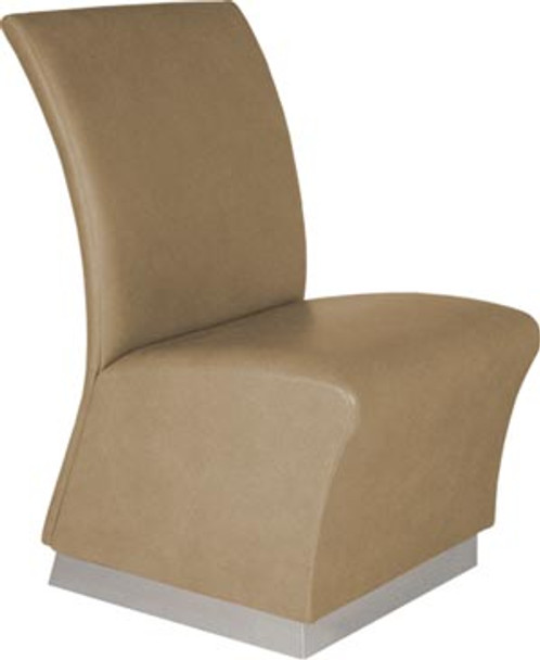 Collins Lanai Reception Chair with satin-stainless toe-kick base