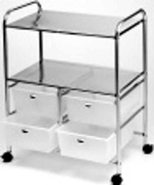 Pibbs White Double Shelf Utility Cart