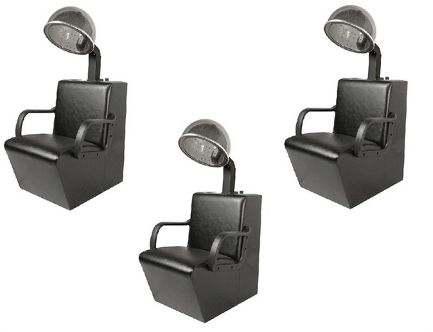 JEFFCO 3 DRYER CHAIRS AND 3 DRYERS SALON PACKAGE