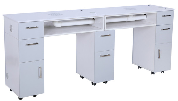 Hunter Milan Double Manicure Table with Vent Pipe (ash grey)