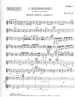 Bartok First Rhapsody for Violin and Orchestra SZ.87 score and parts