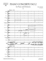 Bela Bartok Concerto for Piano and Orchestra No.2, sheet music, score, orchestral parts