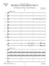 Bartok Concerto for Piano and Orchestra No.3 - sheet music, score and orchestral parts