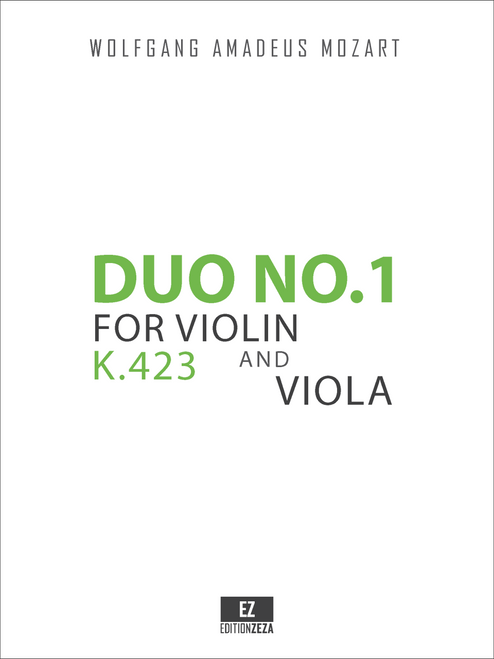 Mozart, W.A. - Duo No.1 K.423 for Violin and Viola , Score and Performance Parts.