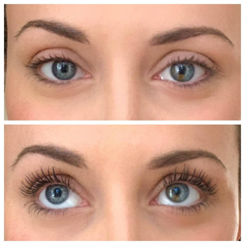 Honeybee Gardens Bellissima Volumizing Mascara - With and Without - Before and After