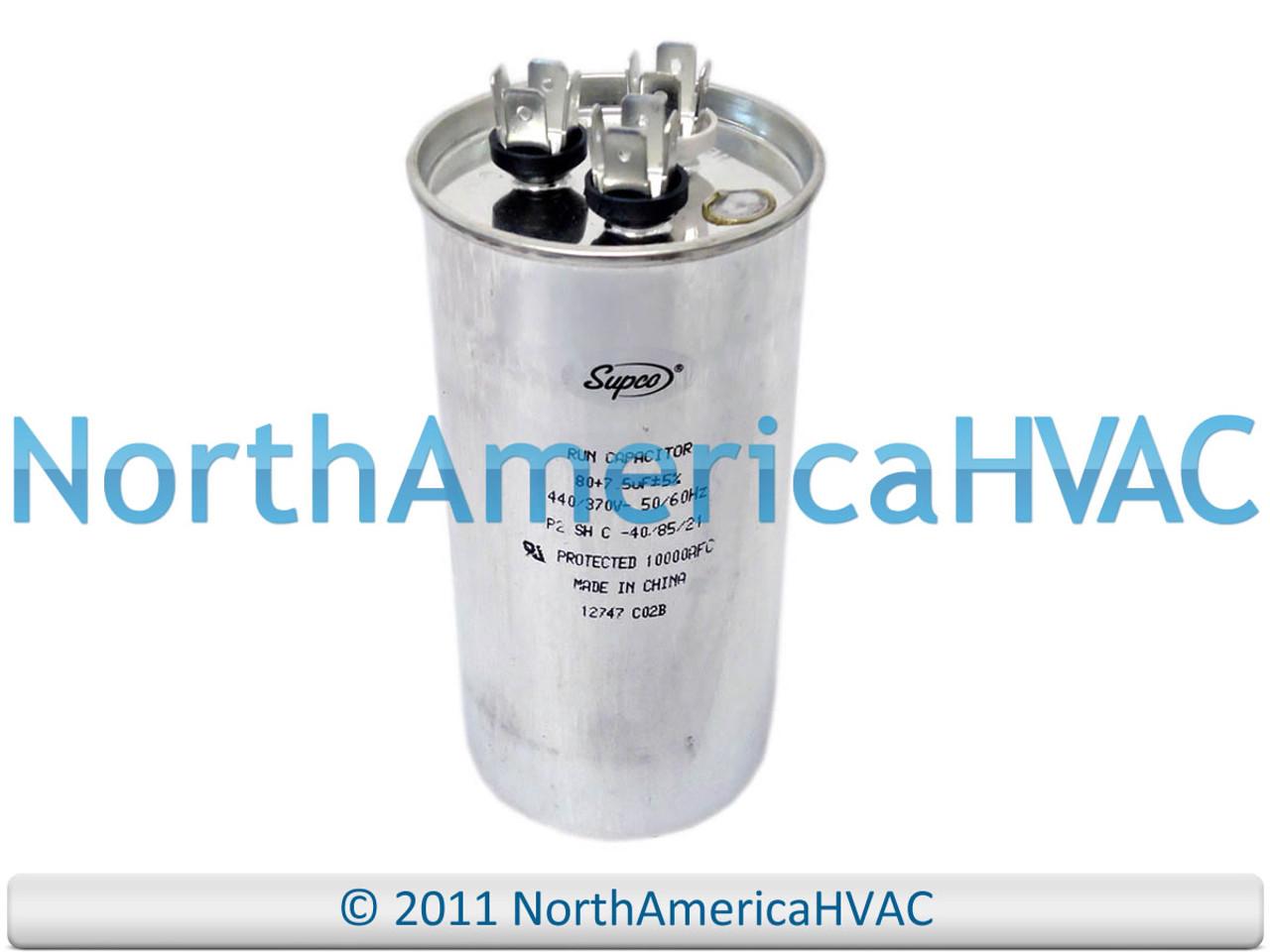Carrier Bryant Capacitor 80//7.5 uf 370 volt P291-8073R