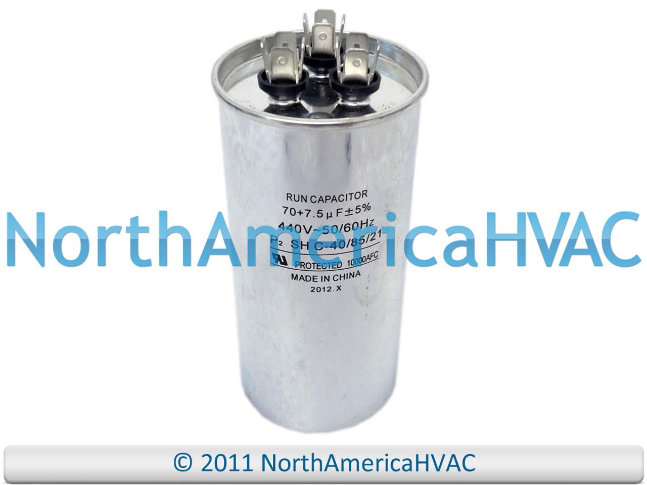 7.5 MFD 370 440 Volt Supco CR70+7.5x440R NEW Motor Round Dual Run Capacitor 70