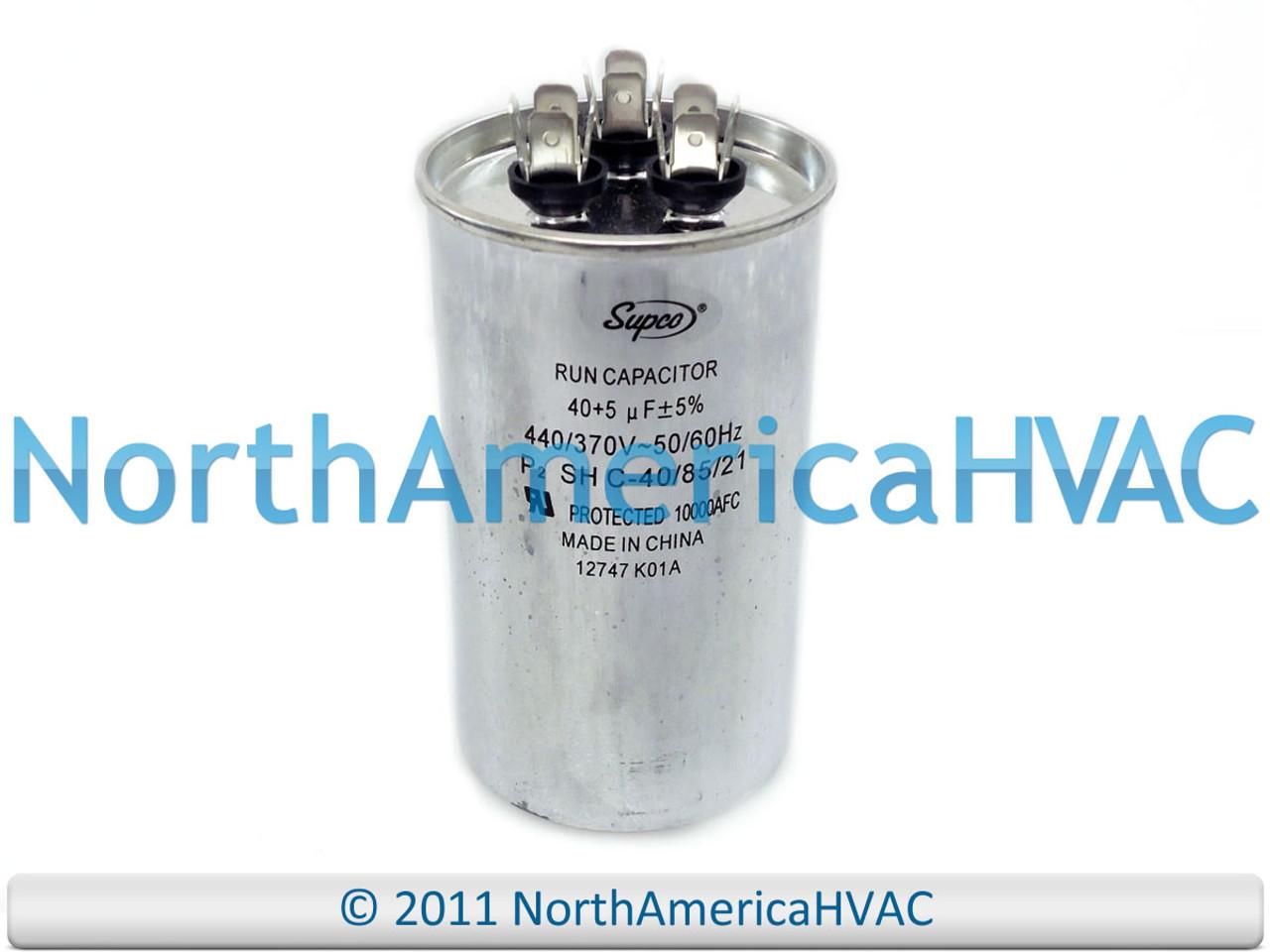 45//5 uf MFD 370//440 Volt VAC fits Intertherm # 620907 ClimaTek Round Capacitor