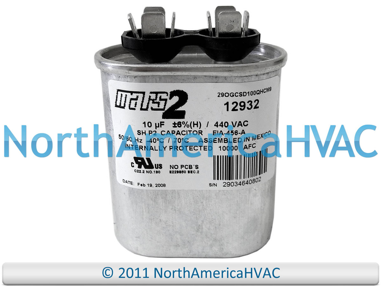 New MARS 12908 10MFD 370V Oval Run Capacitor