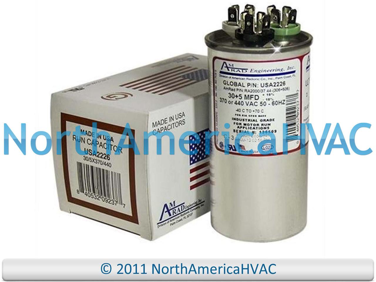 OEM Amrad Run Capacitor 40 440 Volt USA2235 Made in USA! 5 uf MFD 370