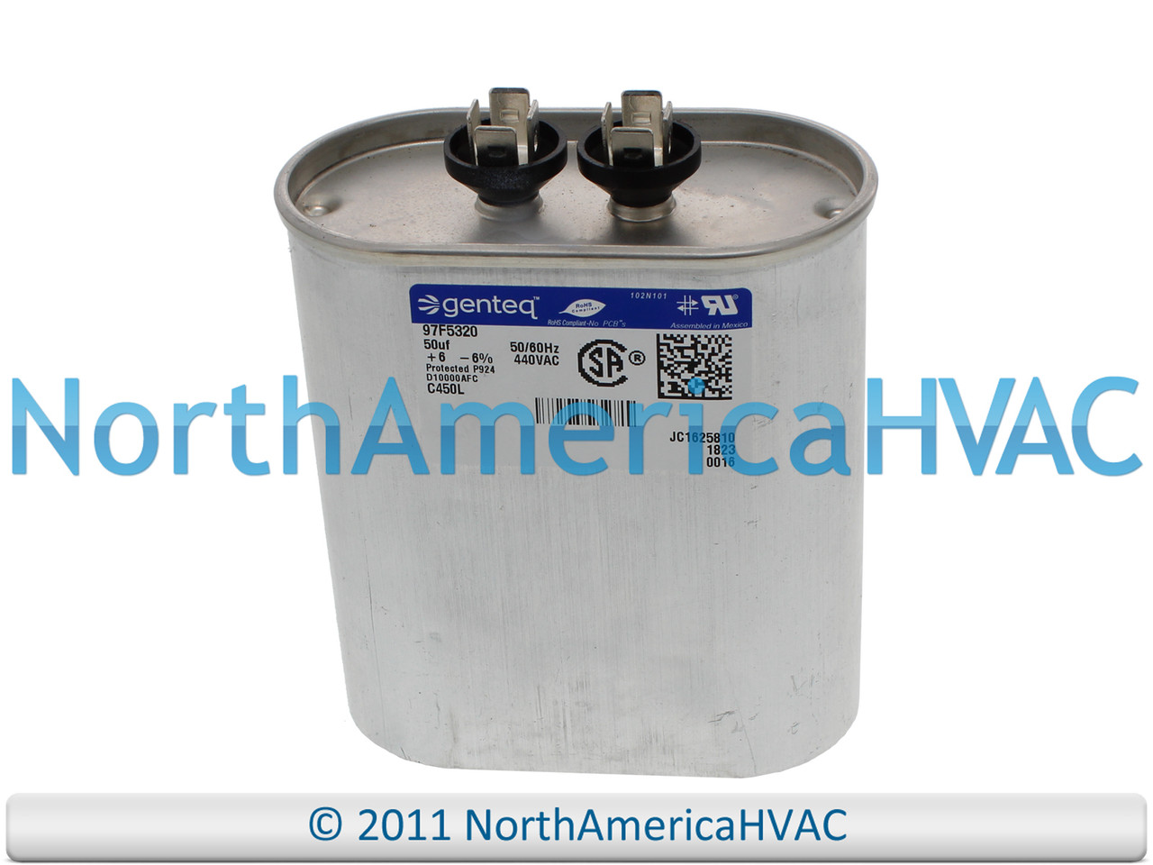 Genteq  97f5320  50 uf  440 VAC • oval  Run Capacitor c450l  97f5320 new