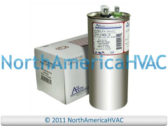 Bryant P291-6053RS Made in The U.S.A. 5 uf MFD 370//440 Volt VAC AmRad Round Dual Run Capacitor 60