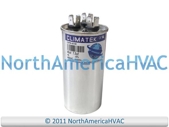 ClimaTek Dual Run Capacitor 40/7.5 uF MFD 370 / 440 VAC Round