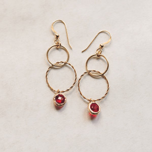 Double Gold Hoop and Red Crystal Earrings
