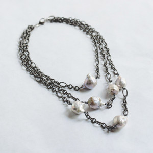 Triple Strand Gunmetal and Baroque Pearl Necklace