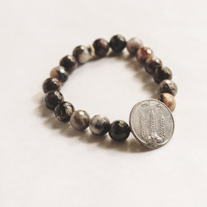 Petrified Wood and Vintage Belly Dancing Coin Stretch Bracelet