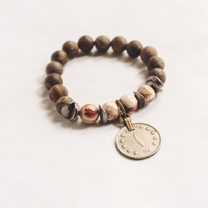 Bronzite Belly Dancing Coin Stretch Bracelet