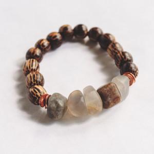 Wood and Flourite Stretch Bracelet