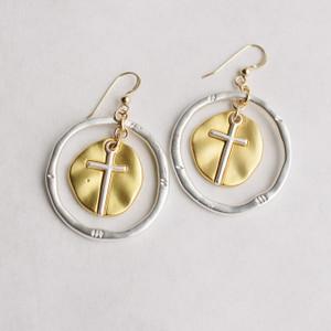 Silver and Gold Cross Earrings II