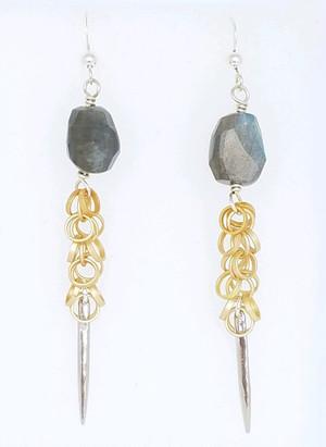 Labradorite and Mult Circle Spike Earrings