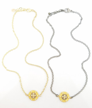 Gold or Silver Necklace with Gold Disc and CZ cross II