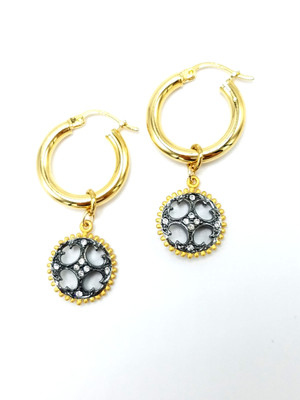 Gold Hoop Gunmetal and Gold CZ Charms