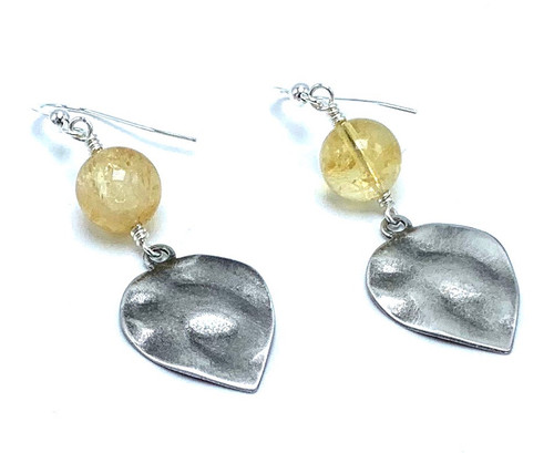 Citrine and Silver Leaf  Earrings