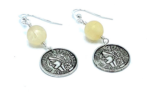 Citrine and Silver Coin Earrings