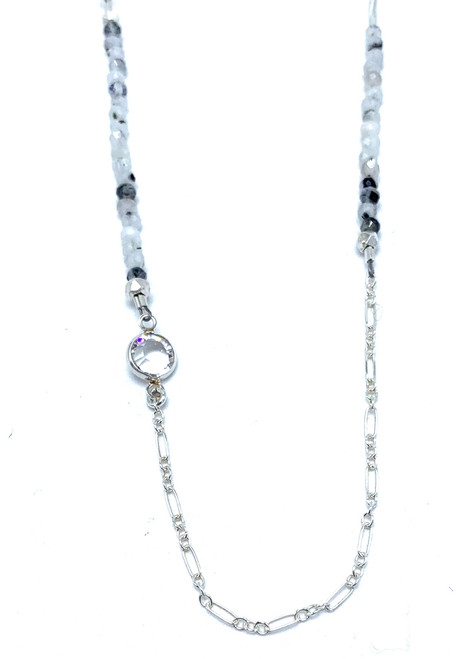 Long Sterling and Tourmalated Moonstone Necklace