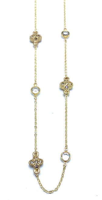 Long Gold Chain with Swarovski Crystals