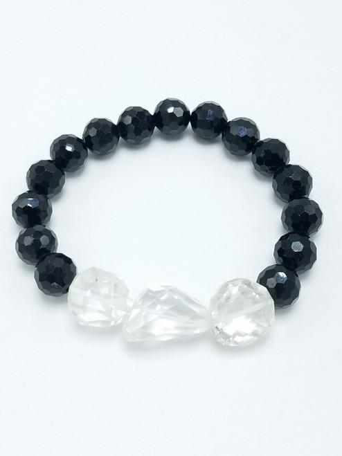 Black Tourmaline and Clear Quartz Stretch Bracelet
