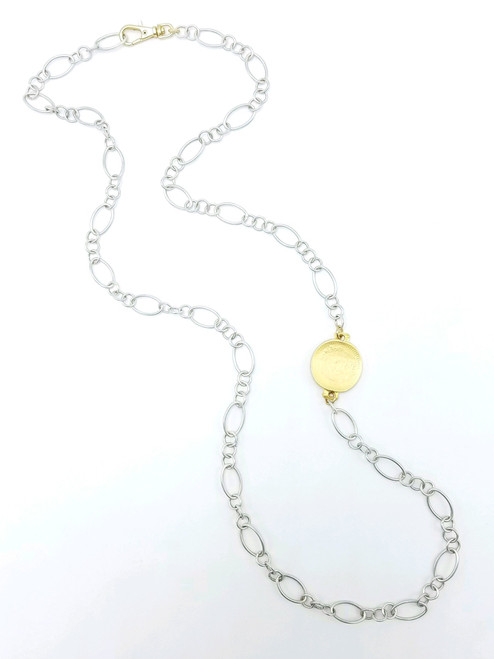 Sterling Silver Necklace with Matte Gold Coin
