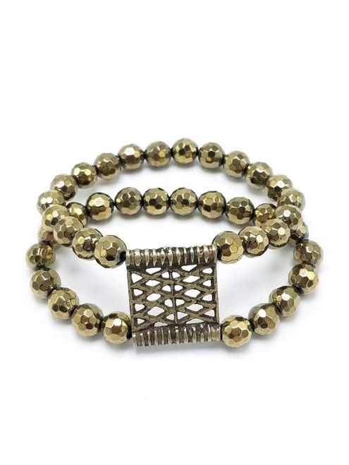 Double Strand Gold Hematite Bracelet with Vintage Tibetan Belt Buckle