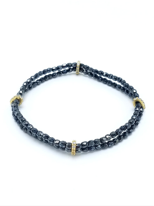 Double Strand Black Hematite Bracelet with CZ's