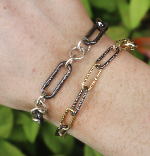 Etched Vermeil and Oxidized Sterling Paperclip Bracelet