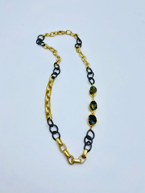 Labradorite and Mixed Chain Necklace