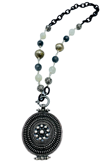 Cloudy Quartz, Moonstone, and African Bead Necklace with Tibetan Pendant