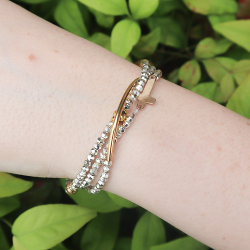 3 Strand Hematite with Gold Bar and Gold Cross Bracelet