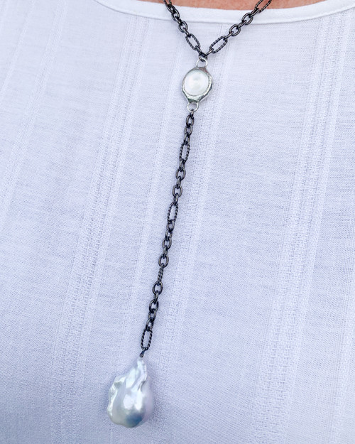 Baroque Pearl and Soldered Crystal Necklace