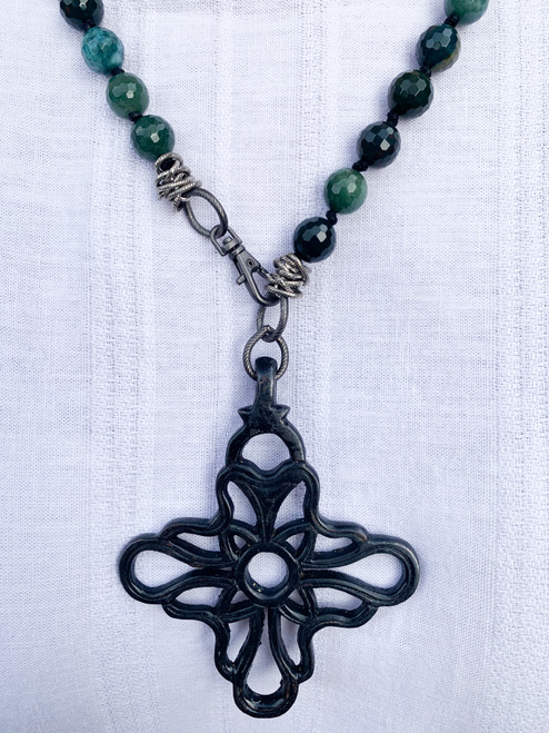Black Cross on Knotted Bloodstone and Silver Beads