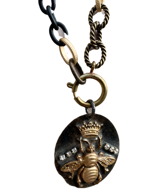 Queen Bee on Mixed Chain Necklace