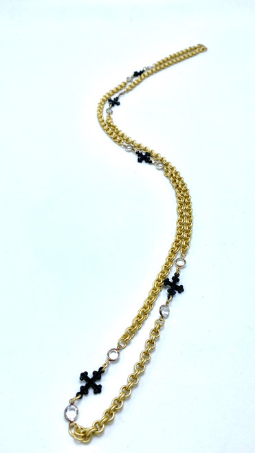 Gold Chain with Swarovski Crystals and Black Crosses Necklace
