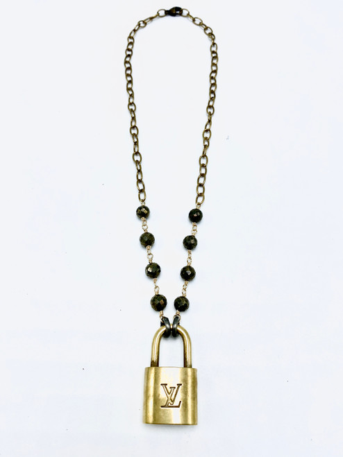 Pyrite and Brass Necklace with Vintage LV Lock